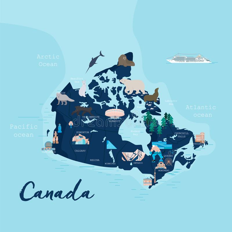Canada cartoon travel map vector illustration. With landmarks, cities, roadmap. Infographic concept shape template design with country navigator. Business vector illustration
