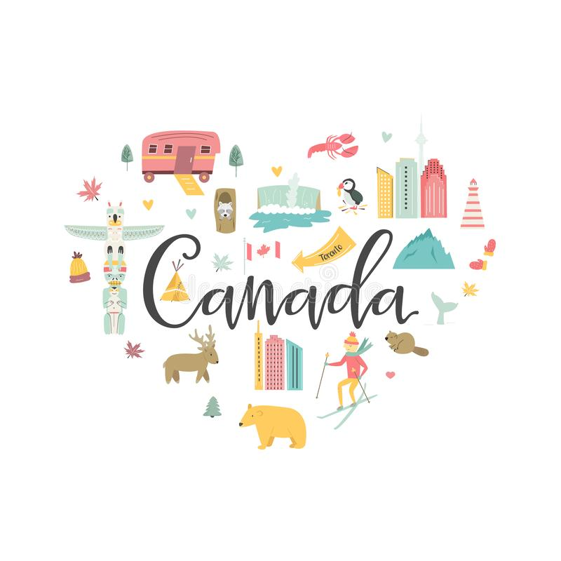 Canada cartoon vector banner. Travel illustration. With landmarks, animals and nature places. For prints, t shirts, social media, greeting cards vector illustration