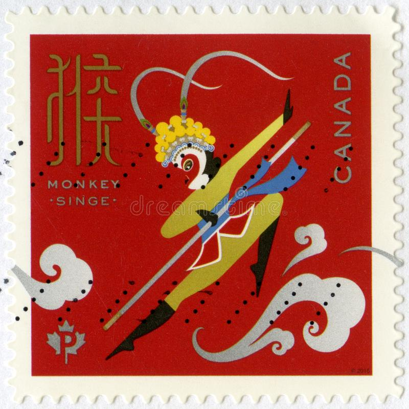 CANADA - CIRCA 2016: shows Monkey King Singe, Year of the Monkey. CANADA - CIRCA 2016: A stamp printed in Canada shows Monkey King Singe, Year of the Monkey stock image