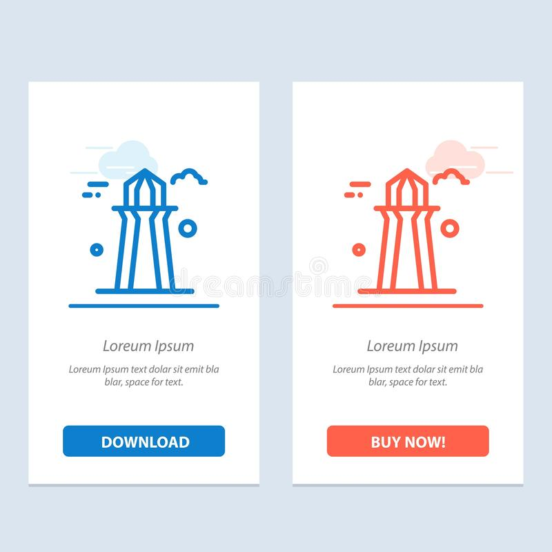 Canada, Co Tower, Canada Tower, Building  Blue and Red Download and Buy Now web Widget Card Template royalty free illustration