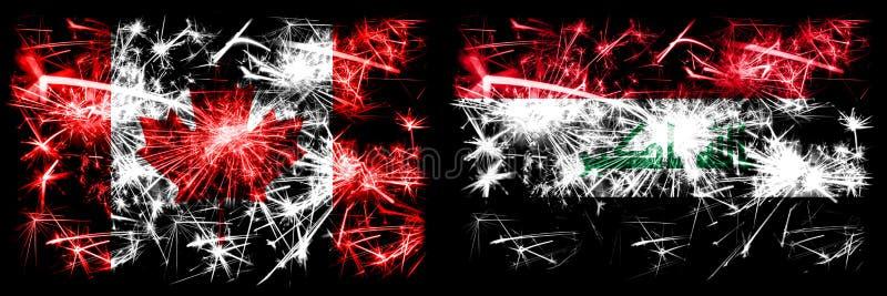 Canada, Canada contre Irak, célébration du Nouvel An irakien feux d'artifice drapeaux de fond Combinaison de deux concepts abstra illustration stock