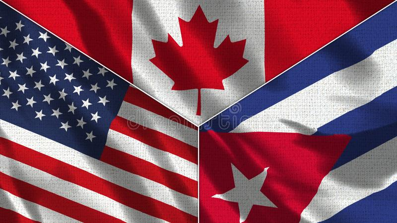 Canada and Cuba  and USA Realistic Three Flags Together. Canada and Cuba and USA Realistic Three Flags Together - 3D illustration Fabric Texture stock illustration