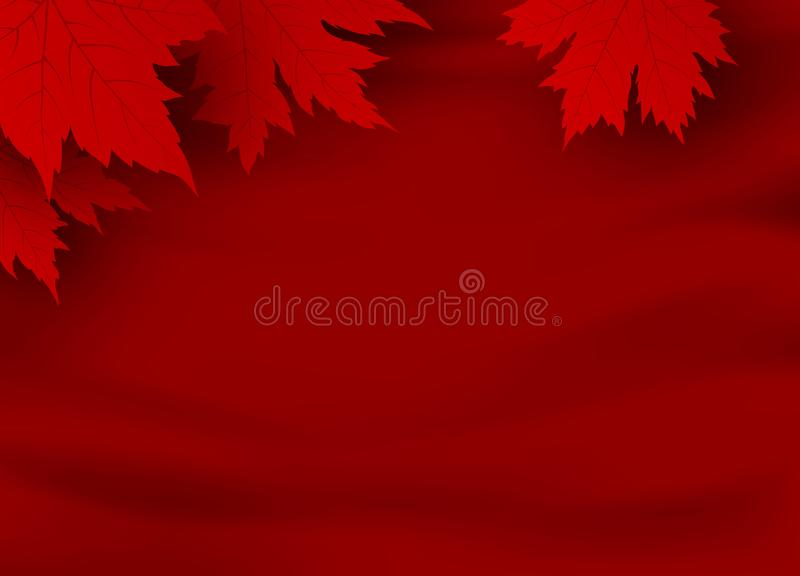 Canada day banner design of red maple leaves on red fabric background with copy space royalty free illustration