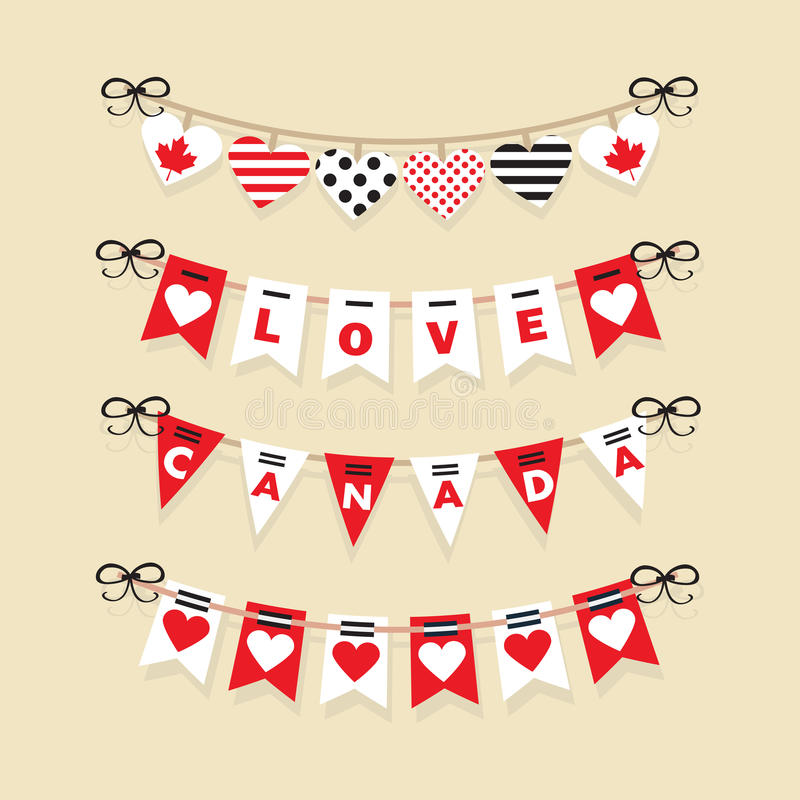 Canada Day buntings and festive garlands icons royalty free illustration