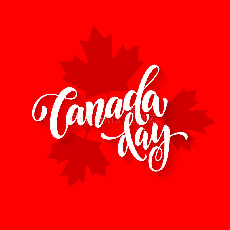 Canada Day card with maple leaf print pattern poster royalty free illustration