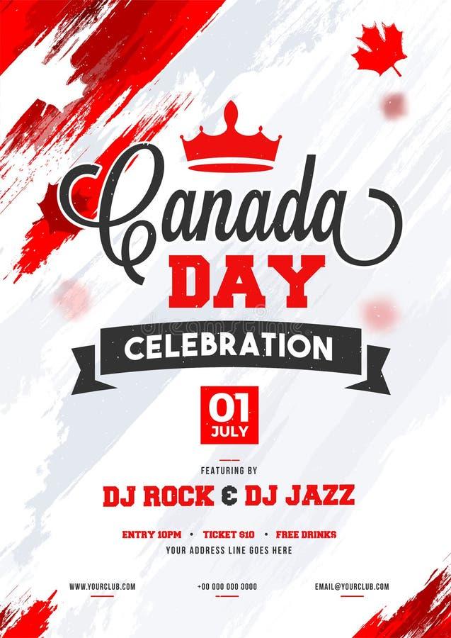 Canada Day celebration flyer, banner or invitation card design. Canada Day celebration flyer, banner or invitation card design with brush stroke background vector illustration