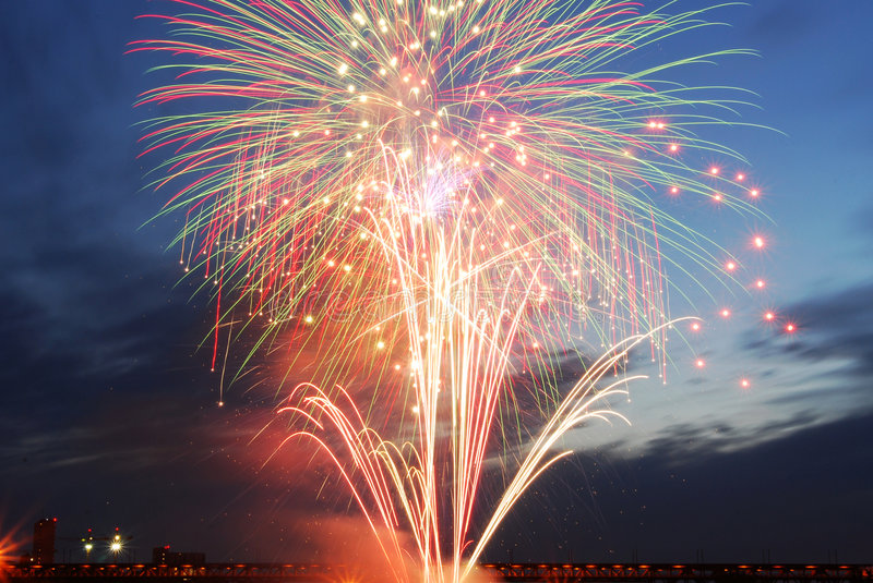 Canada day fireworks in edmonton. Colorful fireworks on canada day (july 1st) in city edmonton, alberta, canada royalty free stock image