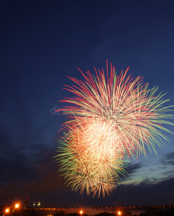 Canada day fireworks in edmonton. Colorful fireworks on canada day (july 1st) in city edmonton, alberta, canada royalty free stock photos