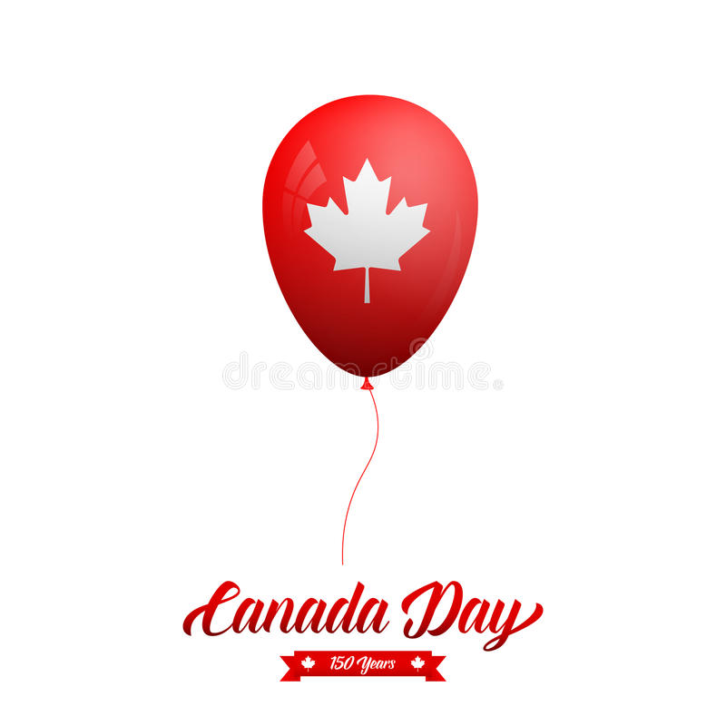 Canada Day. Glossy balloon with Canadian Maple Leaf and typography.  vector illustration