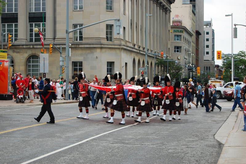 Canada Day Guards Holding Natioanl Flag In Ottawa Editorial Photo