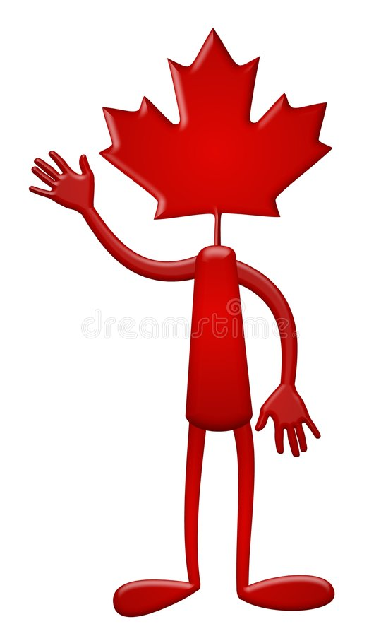 Canada Day Maple Leaf Dude. An illustration featuring an abstract character with a maple leaf head and waving at all his canadian friends stock illustration