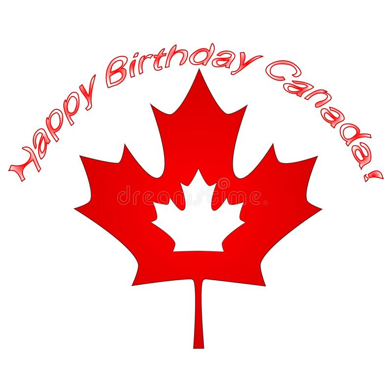Canada Day Vector Illustration. Happy Canada Day Holiday Invitation Design. Red Leaf Isolated on a white background. Greeting card stock illustration