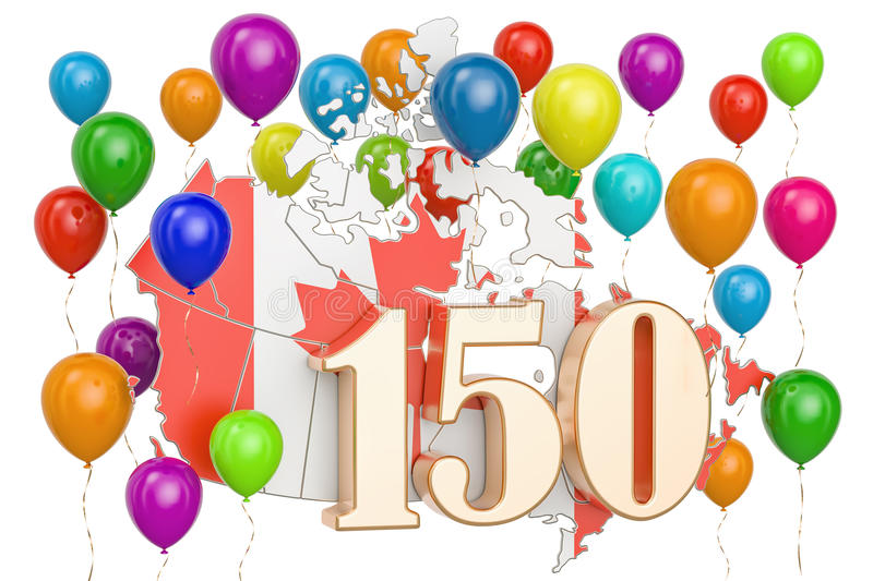 Download Canada Day, 150 Years Anniversary. 3D Rendering Stock Illustration - Illustration of patriotic, many: 95032674