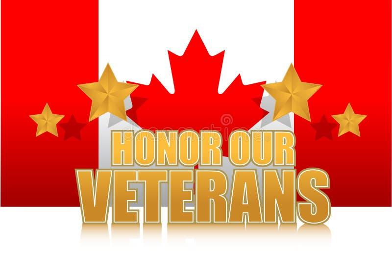 Canada eert ons teken van de veteranen gouden illustratie stock illustratie