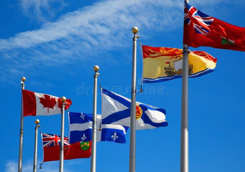 Canada en zijn provinciale vlaggen royalty-vrije stock foto's