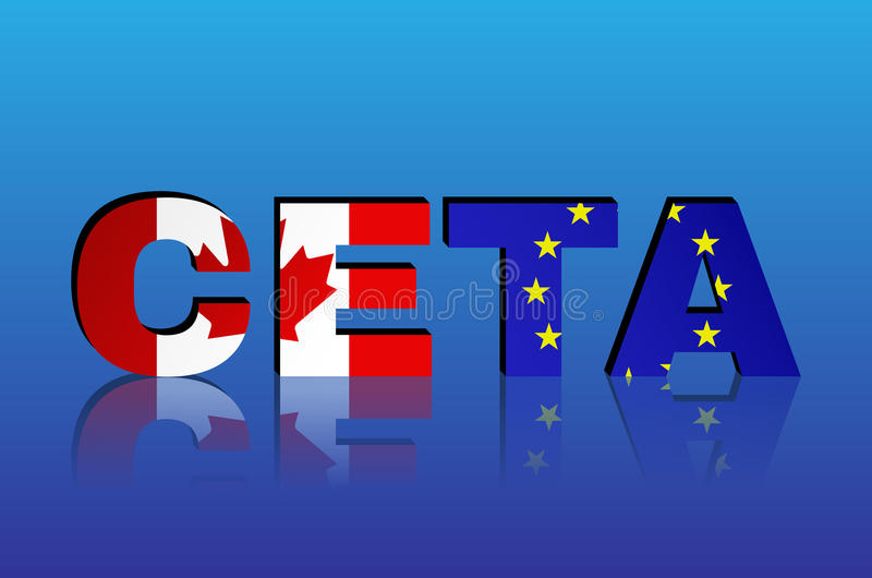 Canada And European Union Flags In Ceta Text With Shadow Stock