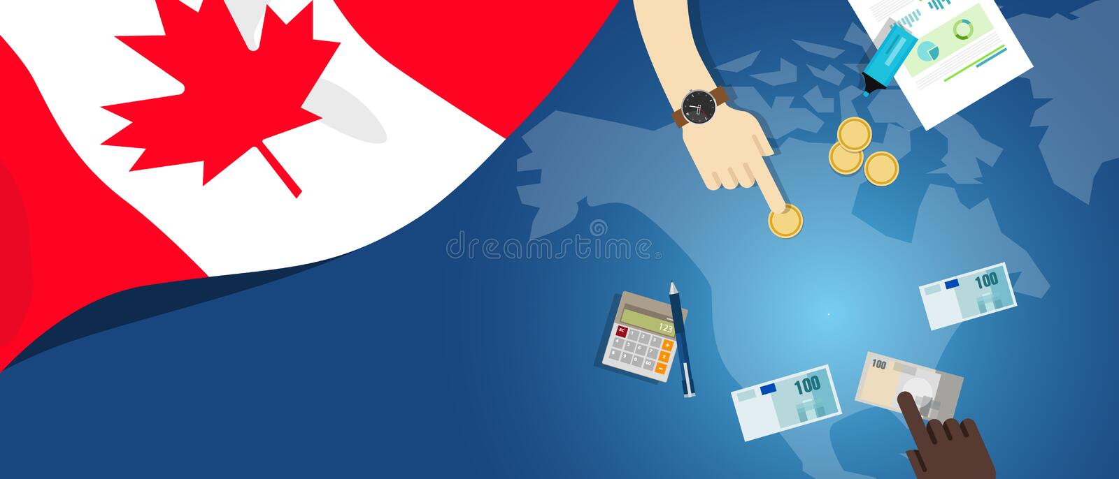 Canada fiscal money trade concept illustration of financial banking budget with flag map and currency. Canada economy fiscal money trade concept illustration of royalty free illustration