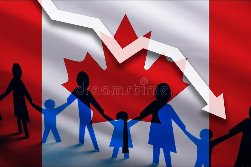 Canada flag background of the arrow chart down. Decrease in the number of the country`s rape. Fertility below the measurement. Reducing the flow of refugees royalty free illustration