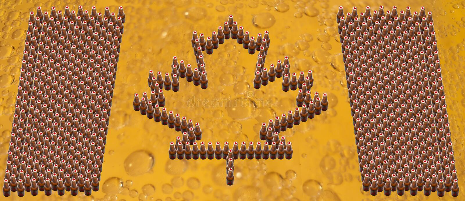 Canada Flag Beer Bottles. A Canada Flag made of Beer Bottles with Canada Caps on a background of soft golden bubbles....eh stock photos