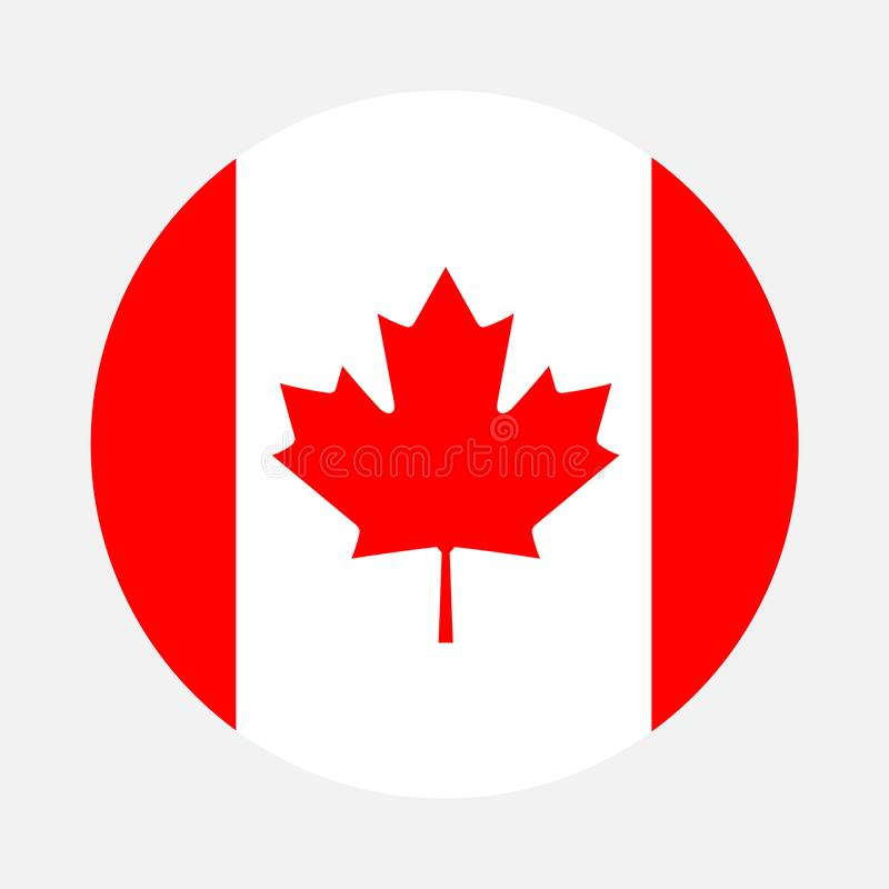 Canada flag circle stock illustration