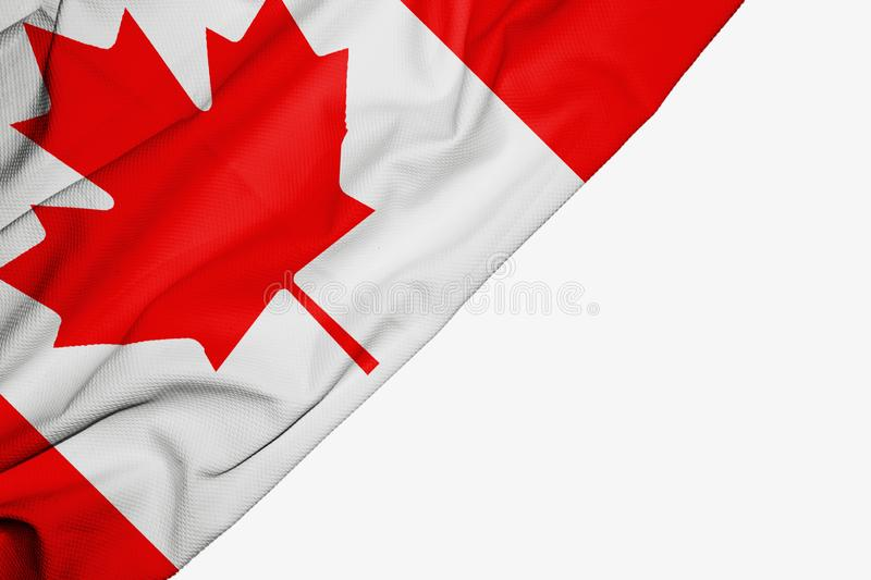 Canada flag of fabric with copyspace for your text on white background. America banner best canadian capital colorful competition country ensign free freedom royalty free illustration