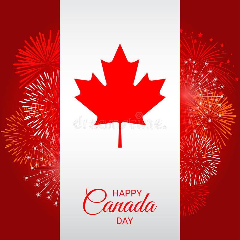 Canada flag with fireworks for national day of Canada royalty free illustration