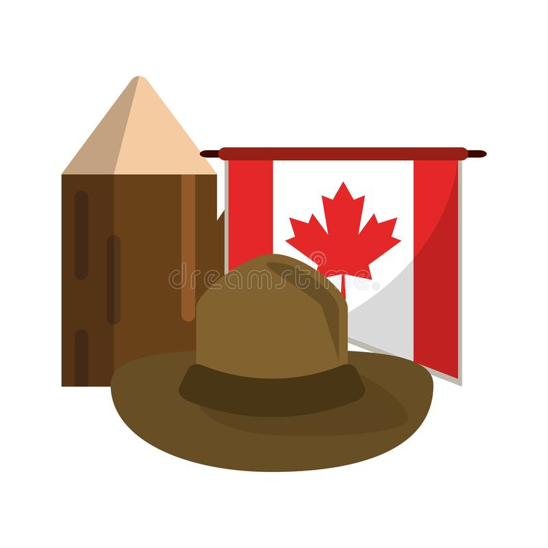 Canada flag with hat and trunk. Vector illustration graphic design royalty free illustration