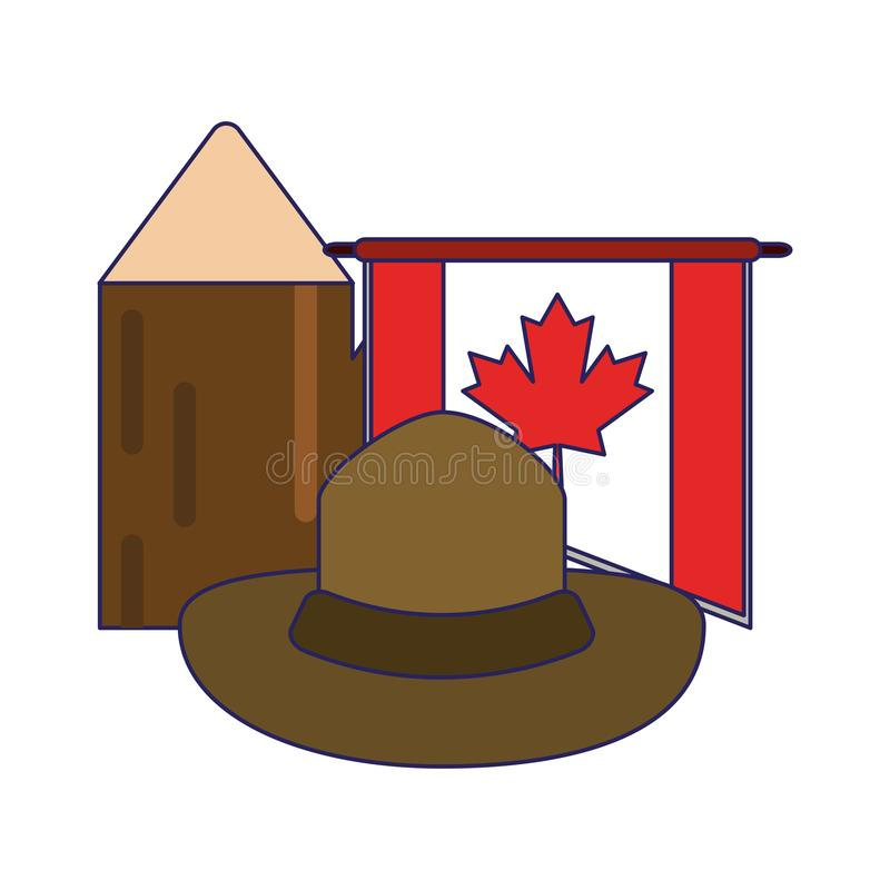 Canada flag with hat and trunk. Vector illustration graphic design stock illustration