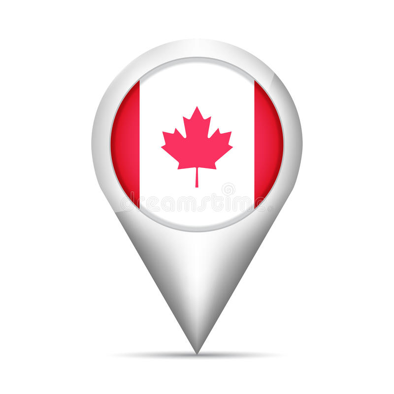 Free Canada Flag Map Pointer With Shadow. Vector Illustration Stock Image - 95665031