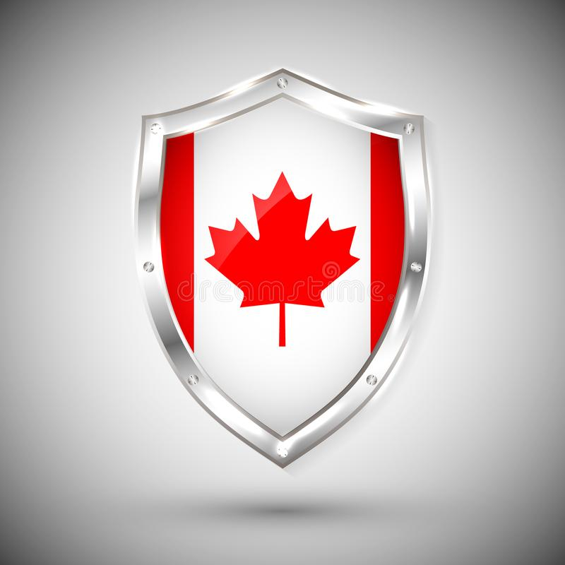 Canada flag on metal shiny shield vector illustration. Collection of flags on shield against white background. Abstract isolated o vector illustration