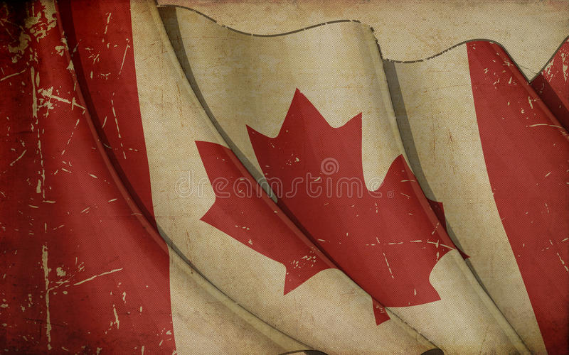 Canada Flag Old Paper. Illustration of a rusty Canadian flag printed on old paper vector illustration