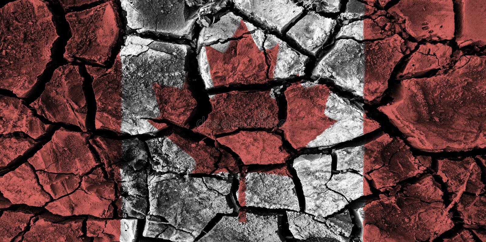 Canada flag painting on high detail cracked ground . royalty free illustration