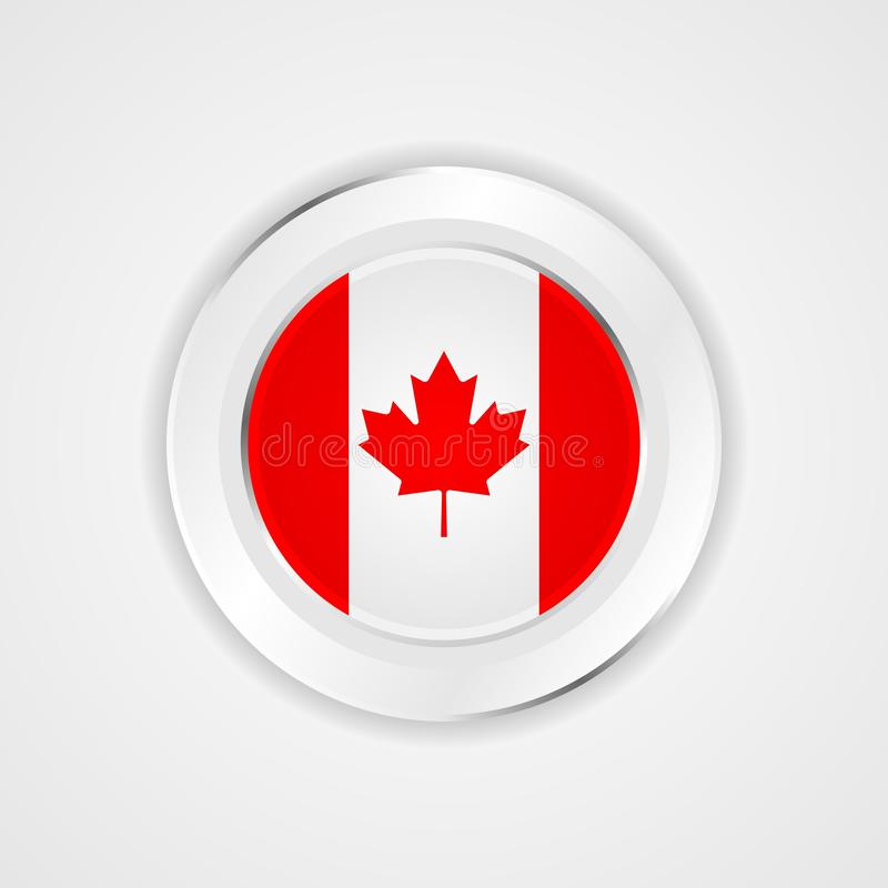 Canada flag in glossy  icon. Canada flag in shine glossy  icon vector illustration