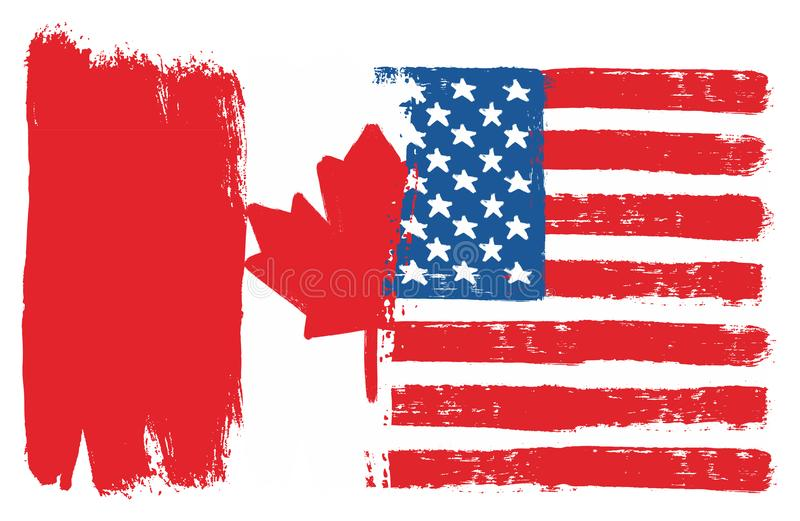 Canada flag united states of america flag vector hand painted with download canada flag united states of america flag vector hand painted with rounded brush stock publicscrutiny Image collections