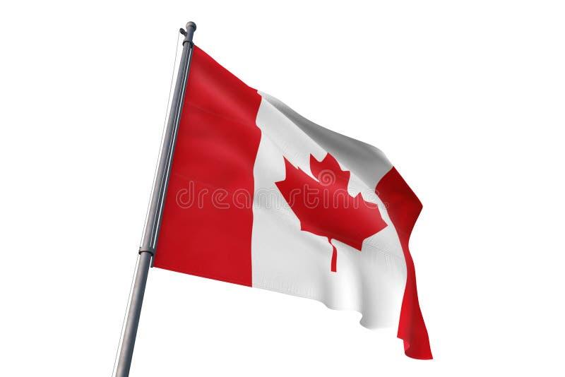 Canada flag waving isolated white background 3D illustration vector illustration