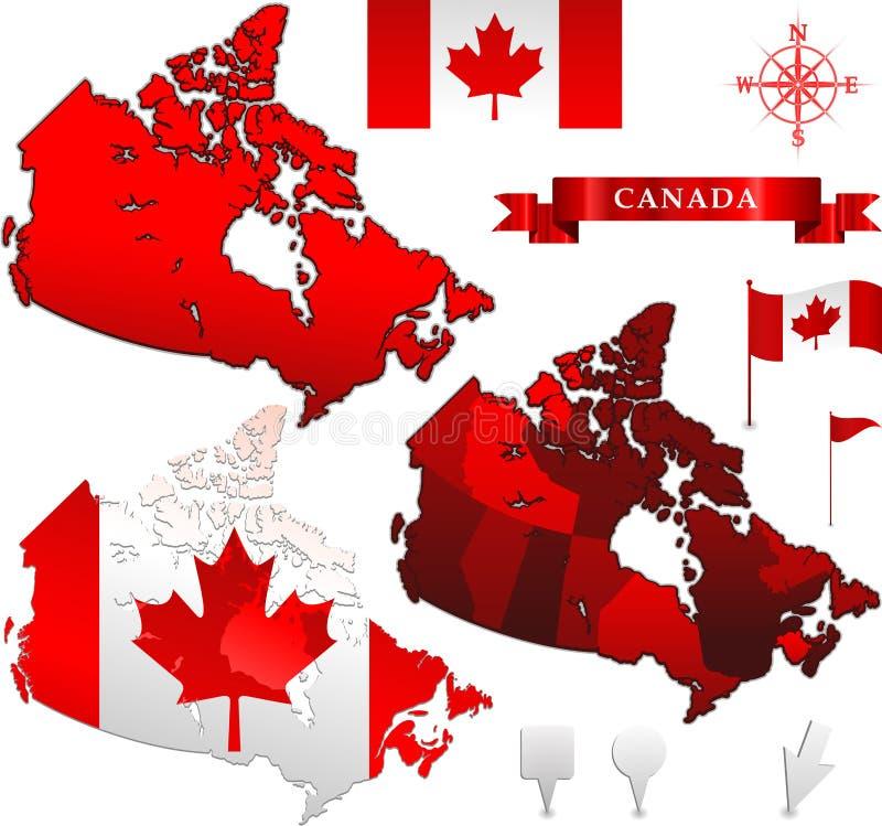 canada flaga mapy wektor ilustracji