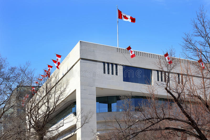 Canada Flags Embassy Pennsylvania Ave Washington DC stock photo