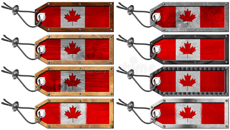 Download Canada Flags Set Of Wooden And Metal Tags Stock Illustration - Illustration: 28786636