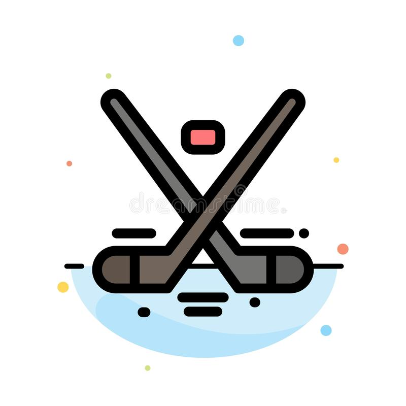 Canada, Game, Hockey, Ice, Olympics Abstract Flat Color Icon Template vector illustration