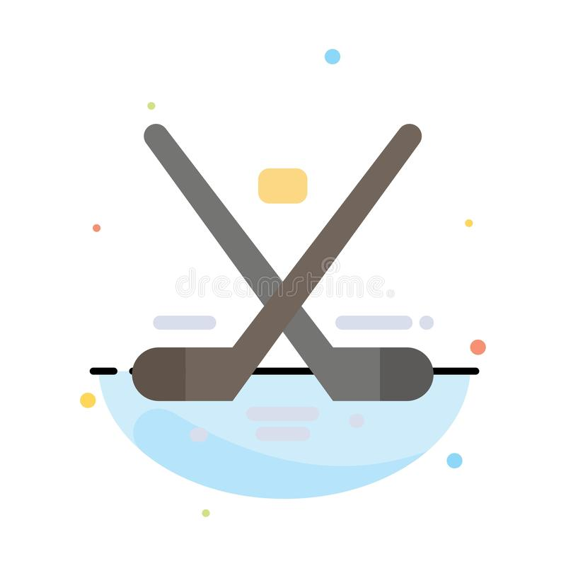 Canada, Game, Hockey, Ice, Olympics Abstract Flat Color Icon Template stock illustration
