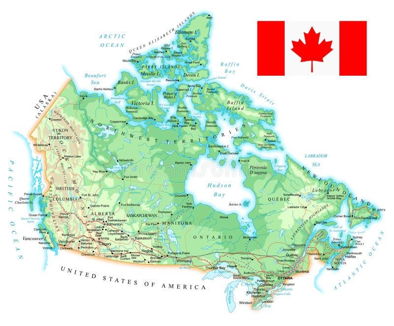Canada - gedetailleerde topografische kaart - illustratie royalty-vrije illustratie