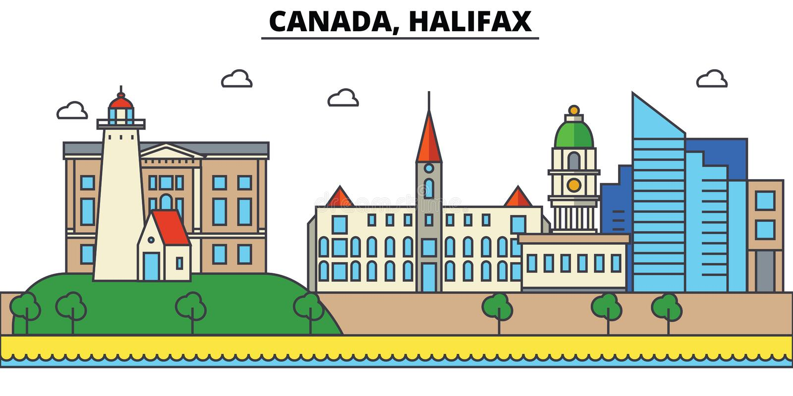 Canada, Halifax De architectuur Editable van de stadshorizon royalty-vrije illustratie