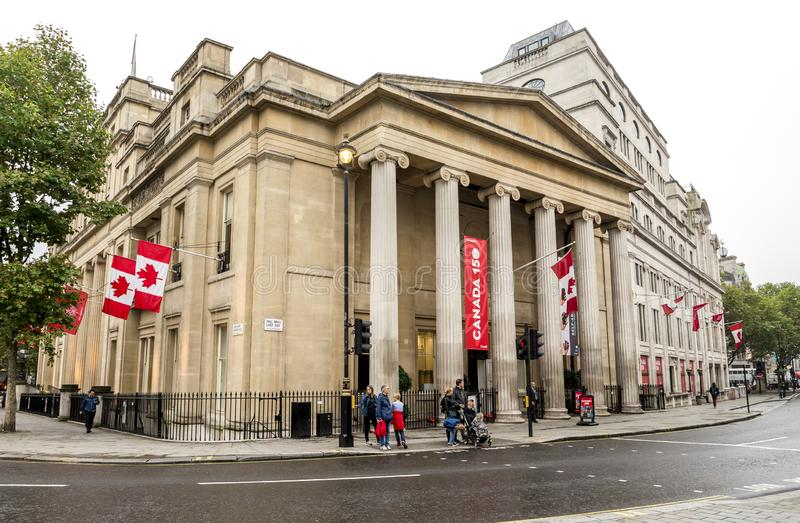 Canada House building on Trafalgar Square in London, United Kingdom. October 2017 royalty free stock photo