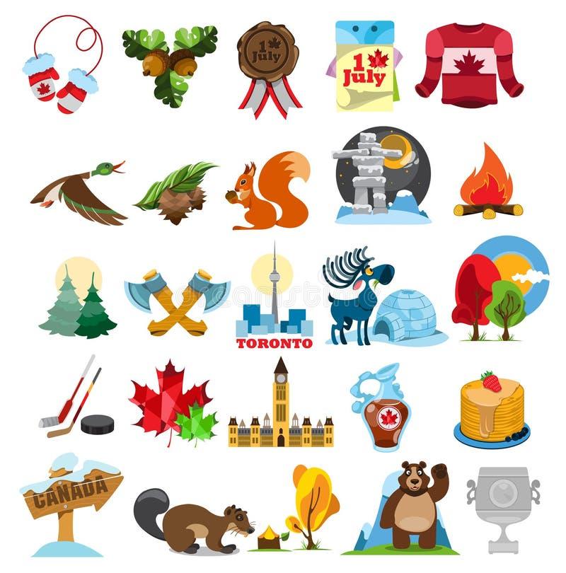 Canada icon set. Canada icons, Canada symbols. Set of vector illustrations isolated on white background royalty free illustration
