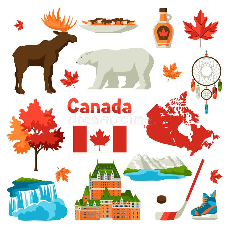Canada icons set. Canadian traditional symbols and attractions royalty free illustration