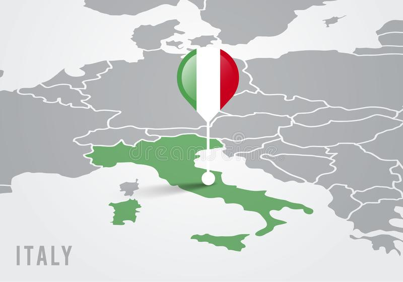 Vector illutration map of europe with highlighted italy map and italian flag pointer stock illustration
