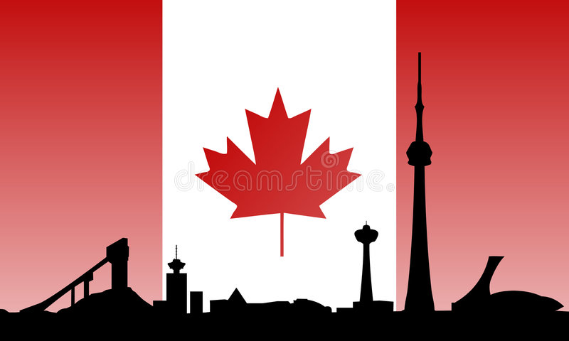 Canada landmarks skyline and flag. Vectored illustrations as silhouette of most visited buildings and landmarks in canada, including toronto cn tower, west