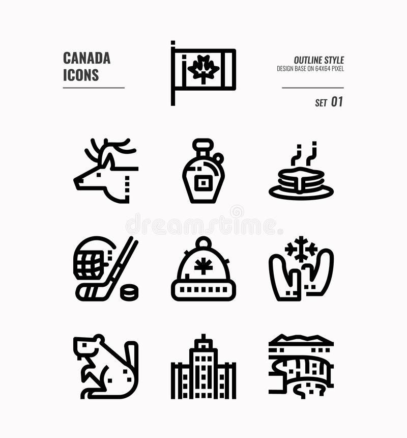 Canada line icon set 1. Include Canada flag, Maple syrup, niagara fall, hockey animal and more. Outline icons Design. vector stock illustration