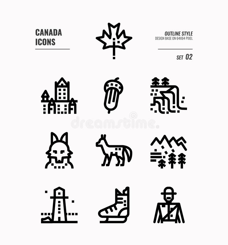 Canada line icon set 2. Include Canada landmark, Maple leaf, landscape, red fox and more. Outline icons Design. vector royalty free illustration