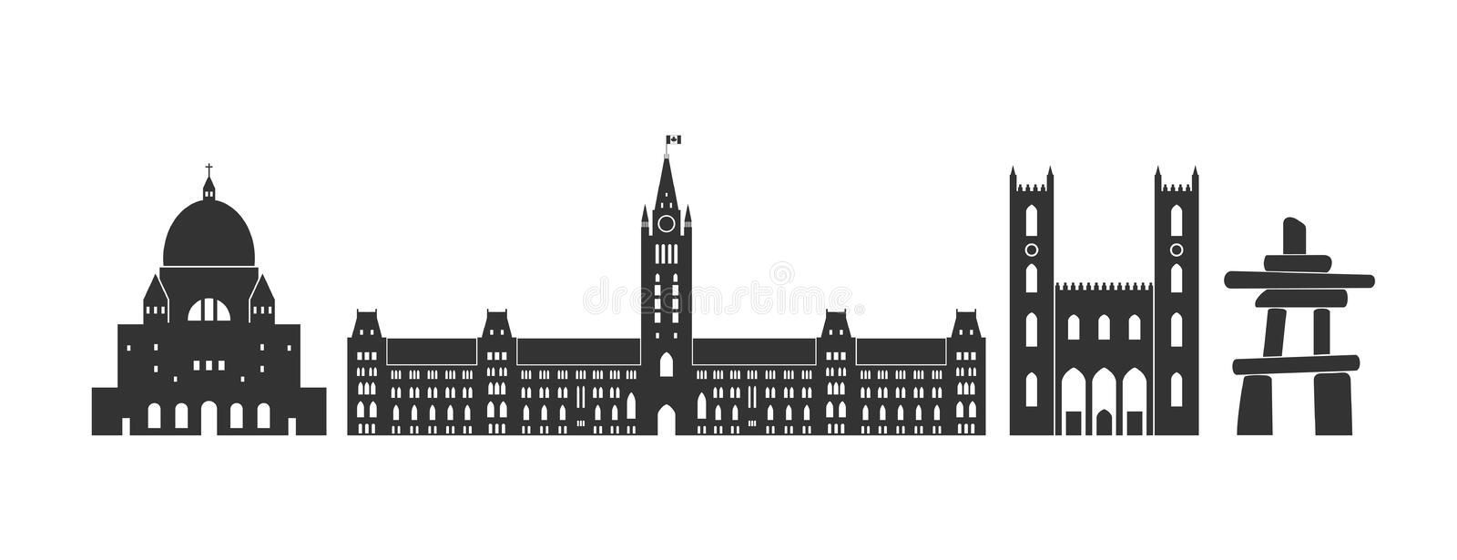 Canada logo. Isolated Canadian architecture on white background. EPS 10. Vector illustration royalty free illustration